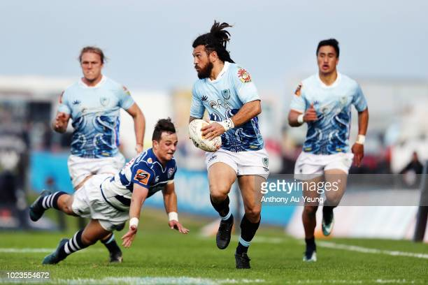 Rene Ranger of Northland makes a break during the round two Mitre 10 Cup match between Northland and Auckland at Toll Stadium on August 26 2018 in...