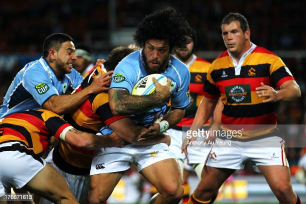Rene Ranger of Northland on the charge during the round 1 ITM Cup match between Waikato and Northland at Waikato Stadium on August 17 2013 in...