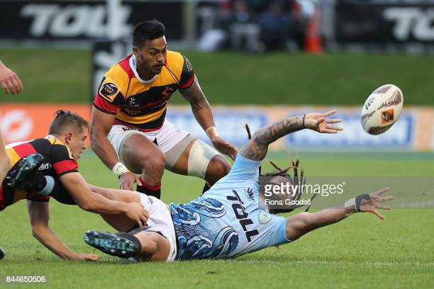 Rene Ranger of Northland passes during the round four Mitre 10 Cup match between Northland and Waikato at Toll Stadium on September 9 2017 in...
