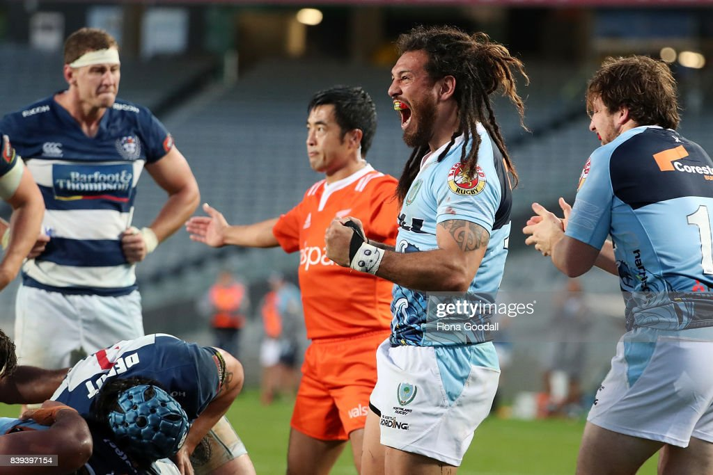 Rene Ranger of Northland (C) reacts to winning the scrum ball during the round two Mitre 10 Cup match between Auckland and Northland at Eden Park on August 26, 2017 in Auckland, New Zealand.
