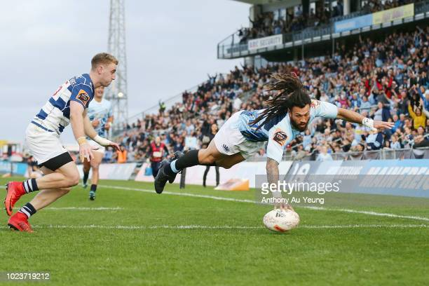 Rene Ranger of Northland scores a try during the round two Mitre 10 Cup match between Northland and Auckland at Toll Stadium on August 26 2018 in...