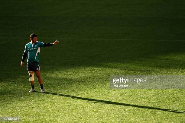 Rene Ranger of the All Blacks directs play during a New Zealand All Blacks training session at Westpac Stadium on July 15 2010 in Wellington New...