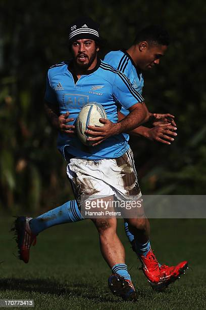 Rene Ranger of the All Blacks runs through drills during a training session at Yarrow Stadium on June 18 2013 in New Plymouth New Zealand