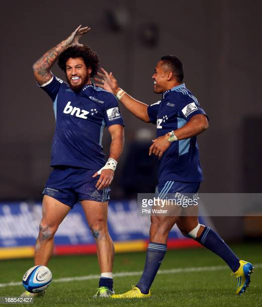 Rene Ranger of the Blues celebrates his try with Lachlan Mitchell during the round 13 Super Rugby match between the Blues and the Western Force at...