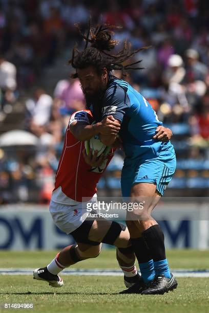 Rene Ranger of the Blues is tackled during the Super Rugby match between the Sunwolves and the Blues at Prince Chichibu Stadium on July 15 2017 in...