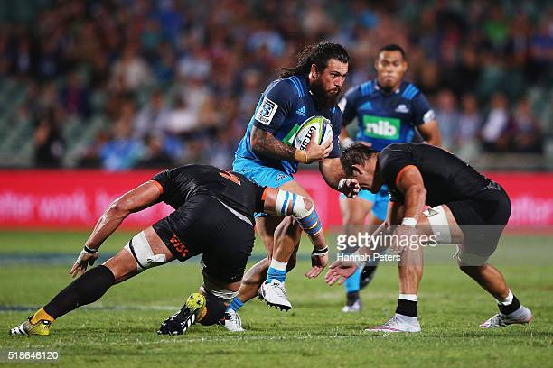 Rene Ranger of the Blues makes a break during the round 6 super rugby match between the Blues and the Jaguares at QBE Stadium on April 2 2016 in...