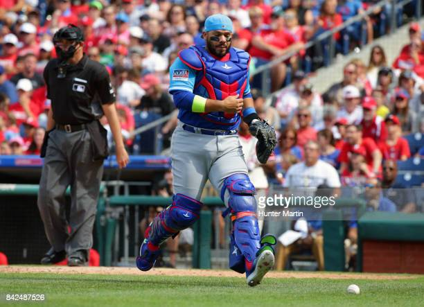 Rene Rivera of the Chicago Cubs during a game against the Philadelphia Phillies at Citizens Bank Park on August 27 2017 in Philadelphia Pennsylvania...