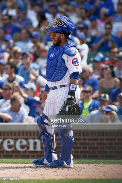 Rene Rivera of the Chicago Cubs looks on in the fifth inning against the Toronto Blue Jays at Wrigley Field on August 20 2017 in Chicago Illinois