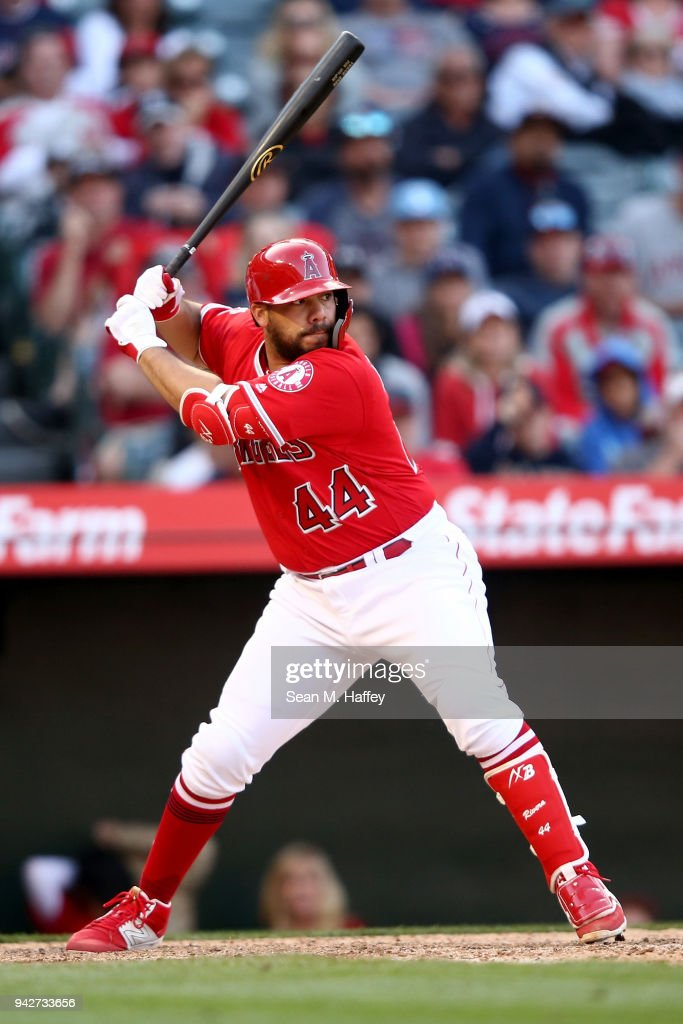 Rene Rivera #44 of the Los Angeles Angels of Anaheim bats during a game against the Cleveland Indians at Angel Stadium on April 4, 2018 in Anaheim, California.