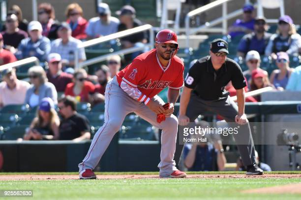 Rene Rivera of the Los Angeles Angels of Anaheim takes a lead from first base against the Colorado Rockies at Salt River Fields at Talking Stick on...