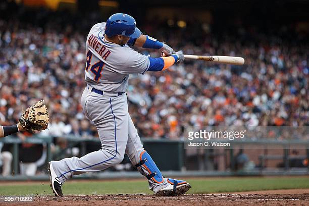 Rene Rivera of the New York Mets at bat against the San Francisco Giants during the sixth inning at ATT Park on August 21 2016 in San Francisco...