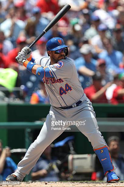 Rene Rivera of the New York Mets bats against the Washington Nationalsat Nationals Park on May 25 2016 in Washington DC