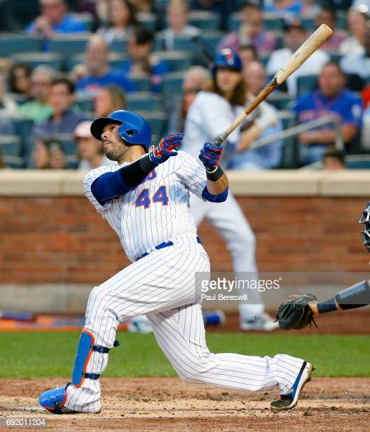 Rene Rivera of the New York Mets bats in an MLB baseball game against the Milwaukee Brewers on May 31 2017 at CitiField in the Queens borough of New...