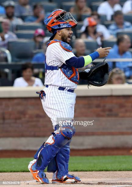 Rene Rivera of the New York Mets directs his teammates in the first inning against the New York Yankees during interleague play on August 16 2017 at...