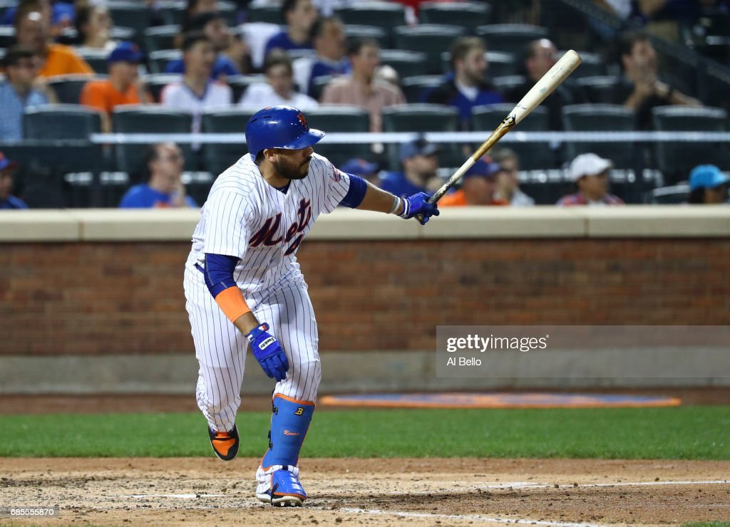 Rene Rivera #44 of the New York Mets drives in a run against the Los Angeles Angels during their game at Citi Field on May 19, 2017 in New York City.