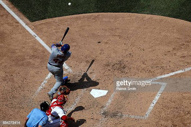 Rene Rivera of the New York Mets hits an RBI single against the Washington Nationals during the seventh inning at Nationals Park on May 25 2016 in...