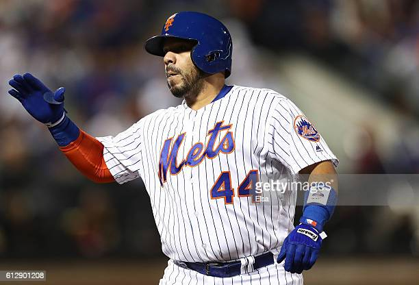 Rene Rivera of the New York Mets reacts afting hitting a single in the third inning against the San Francisco Giants during their National League...