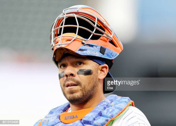 Rene Rivera of the New York Mets walks in from the bullpen before the game against the Oakland Athletics on July 23 2017 at Citi Field in the...