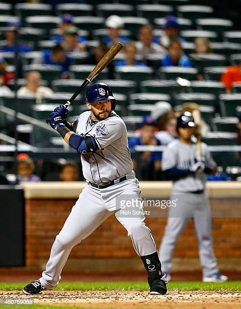 Rene Rivera of the San Diego Padres bats against the New York Mets on June 13 2014 at Citi Field in the Flushing neighborhood of the Queens borough...