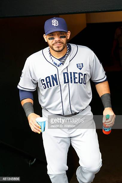 Rene Rivera of the San Diego Padres enters the dugout before the game against the San Francisco Giants at ATT Park on June 25 2014 in San Francisco...