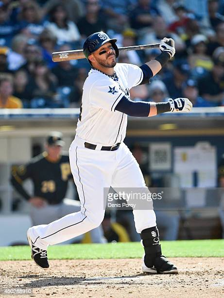 Rene Rivera of the San Diego Padres plays during the game against the Pittsburgh Pirates at Petco Park June 4 2014 in San Diego California