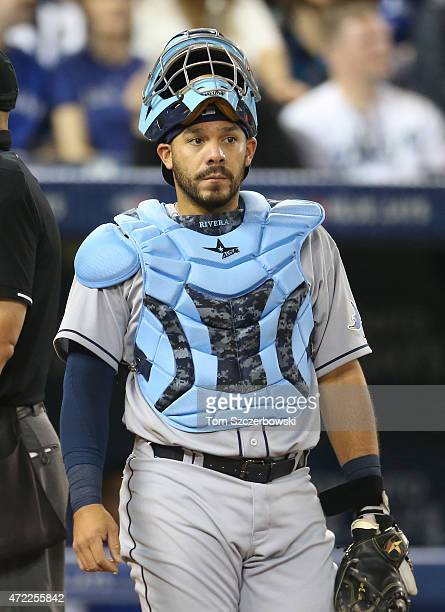 Rene Rivera of the Tampa Bay Rays during MLB game action against the Toronto Blue Jays on April 15 2015 at Rogers Centre in Toronto Ontario Canada