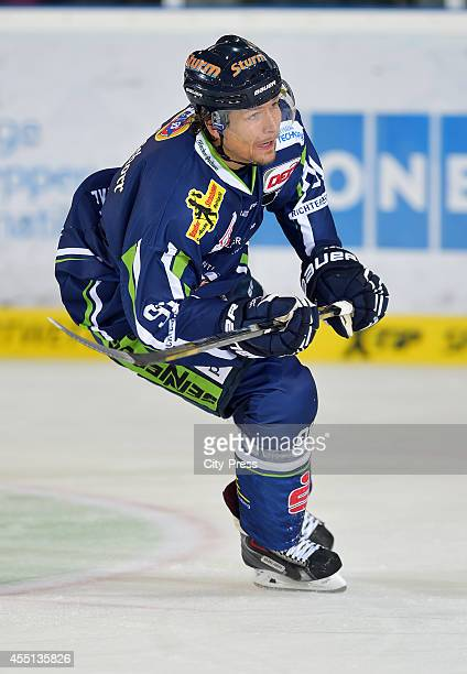 Rene Roethke of Straubing Tigers in action during the action shot on august 15, 2014 in Straubing, Germany.