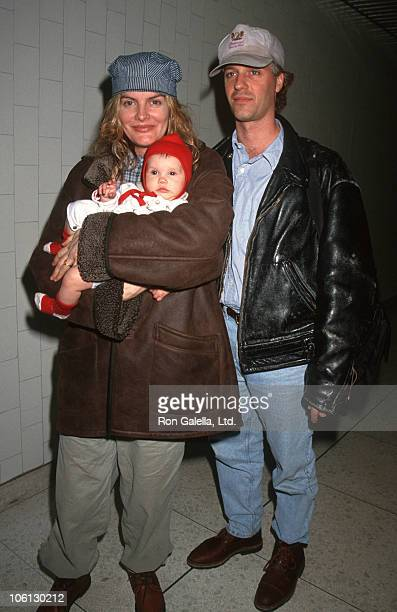 Rene Russo Dan Gilroy and daughter Rose during Rene Russo Sighting at LAX January 2 1994 at Los Angeles International Airport in Los Angeles...