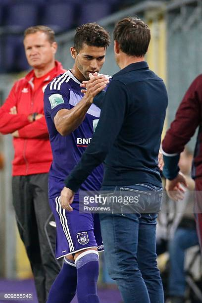 Rene Weiler head coach of RSC Anderlecht and Hamdi Harbaoui forward of Rsc Anderlecht celebrates pictured during Croky Cup match between RSC...