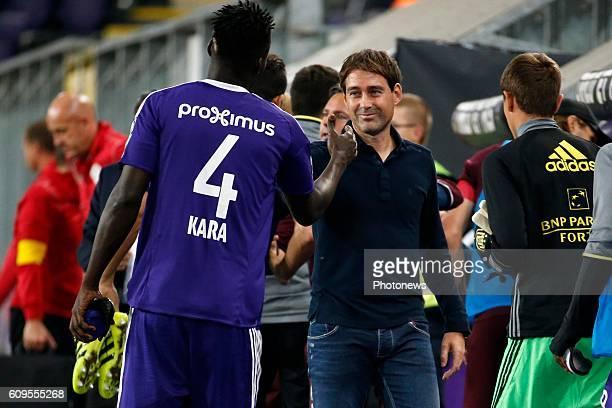 Rene Weiler head coach of RSC Anderlecht and Kara Serigne Modou Mbodji defender of RSC Anderlecht celebrates pictured during Croky Cup match between...
