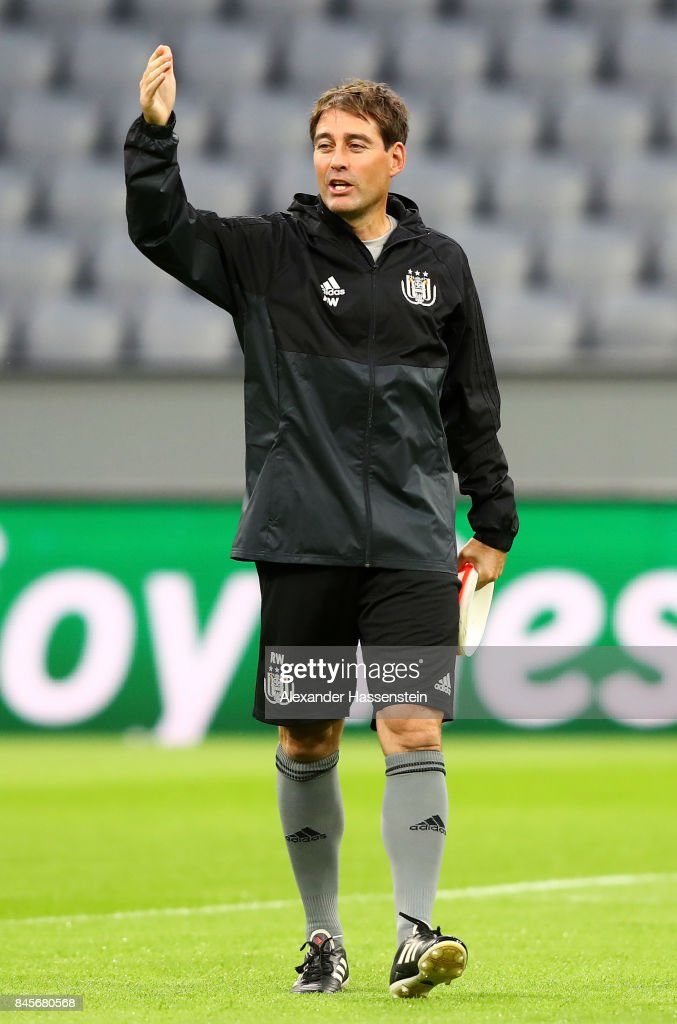 Rene Weiler, manager of RSC Anderlecht during an RSC Anderlecht training session ahead of the UEFA Champions League Group B match against Bayern Muenchen at Fussball Arena Muenchen on September 11, 2017 in Munich, Germany.