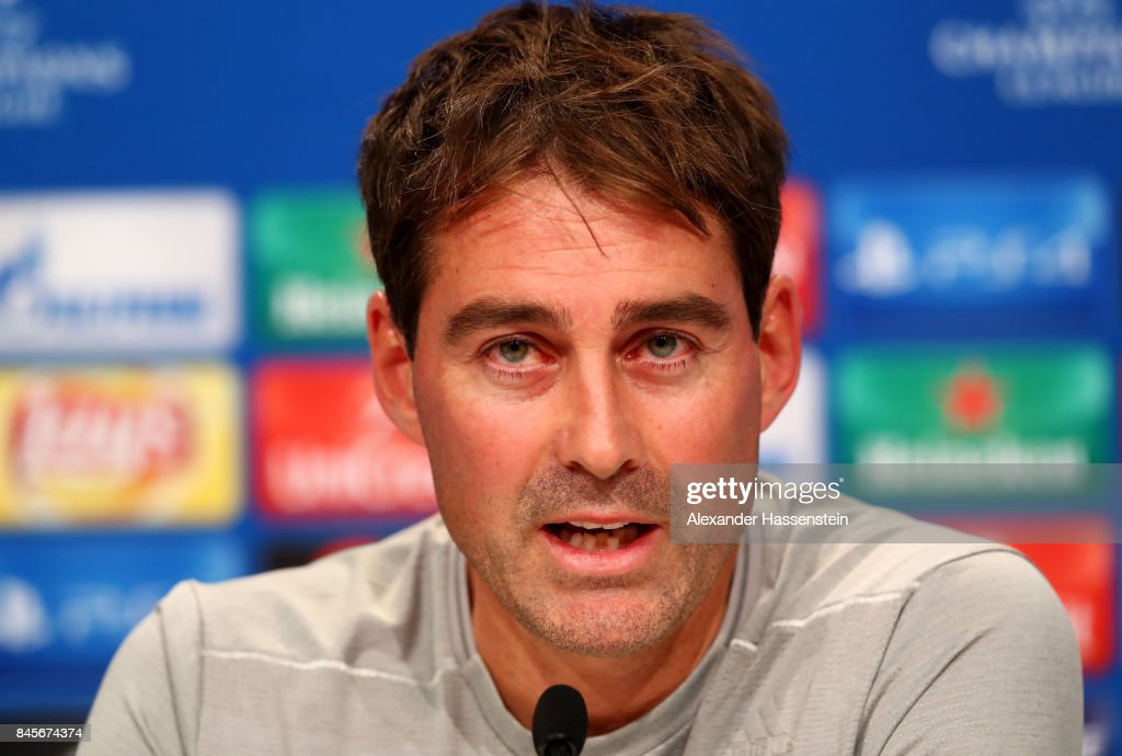 Rene Weiler, manager of RSC Anderlecht speaks during an RSC Anderlecht press conference ahead of the UEFA Champions League Group B match against Bayern Muenchen at Fussball Arena Muenchen on September 11, 2017 in Munich, Germany.