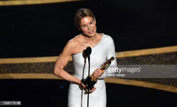 Renée Zellweger accepts the Actress in a Leading Role award for 'Judy' onstage during the 92nd Annual Academy Awards at Dolby Theatre on February 09...