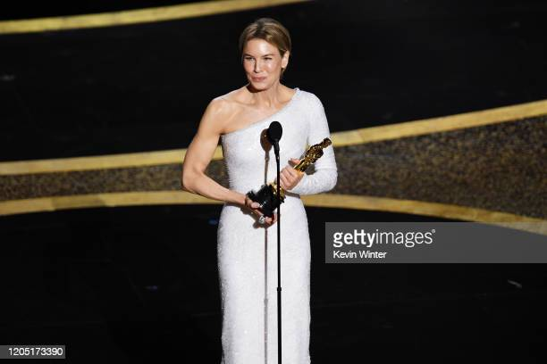Renée Zellweger accepts the Actress in a Leading Role award for Judy during the 92nd Annual Academy Awards at Hollywood and Highland on February 09...