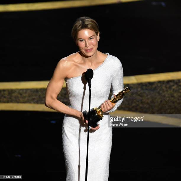 Renée Zellweger accepts the Actress in a Leading Role award for 'Judy' onstage during the 92nd Annual Academy Awards at Dolby Theatre on February 09,...
