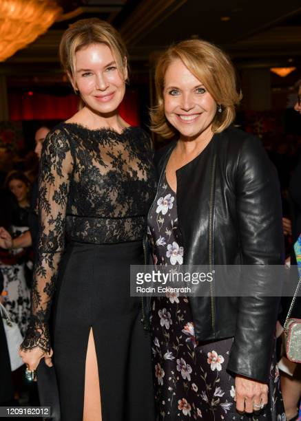 Renée Zellweger and Katie Couric pose for portrait at The Women's Cancer Research Fund's An Unforgettable Evening 2020 at Beverly Wilshire A Four...