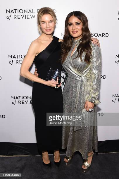 Renée Zellweger and Salma Hayek attend The National Board of Review Annual Awards Gala at Cipriani 42nd Street on January 08 2020 in New York City
