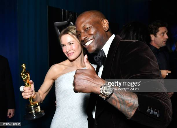 Renée Zellweger and Tyrese Gibson attend the 2020 Vanity Fair Oscar Party hosted by Radhika Jones at Wallis Annenberg Center for the Performing Arts...