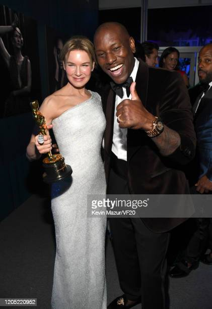 Rene Zellweger and Tyrese Gibson attend the 2020 Vanity Fair Oscar Party hosted by Radhika Jones at Wallis Annenberg Center for the Performing Arts...