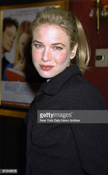 """Ren??e Zellweger arrives for the New York premiere of the movie """"Bridget Jones's Diary"""" at the Ziegfeld Theater. She stars in the film."""