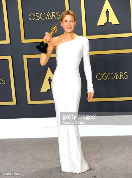 Renée Zellweger poses with her Award for Best Actress inside The Press Room of the 92nd Annual Academy Awards held at Hollywood and Highland on...