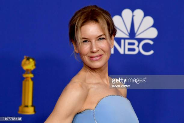Renée Zellweger, winner of Best Performance by an Actress in a Motion Picture — Drama, poses in the press room during the 77th Annual Golden Globe...
