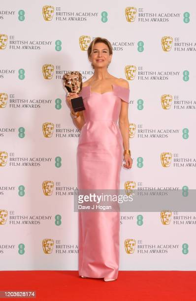 Renée Zellweger, winner of the Bafta for Best Actress, poses in the Winners Room during the EE British Academy Film Awards 2020 at Royal Albert Hall...