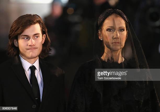 ReneCharles Angelil and recording artist Celine Dion attend the State Funeral Service for Celine Dion's Husband Rene Angelil at NotreDame Basilica on...