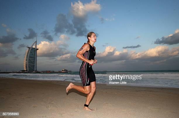 Renee Baker of Australia races during the IRONMAN 703 Dubai on January 29 2016 in Dubai United Arab Emirates