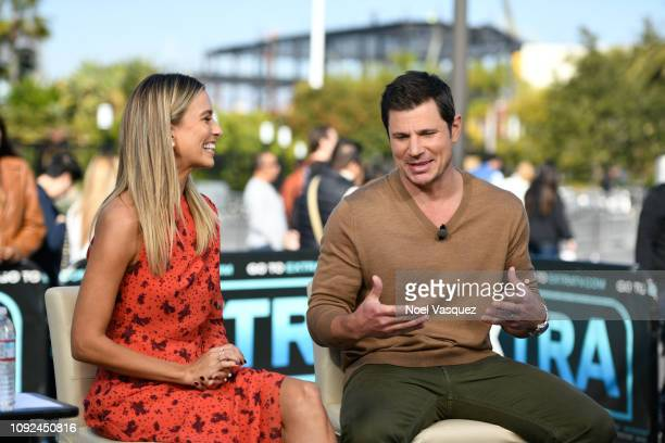 Renee Bargh and Nick Lachey visit 'Extra' at Universal Studios Hollywood on January 10 2019 in Universal City California