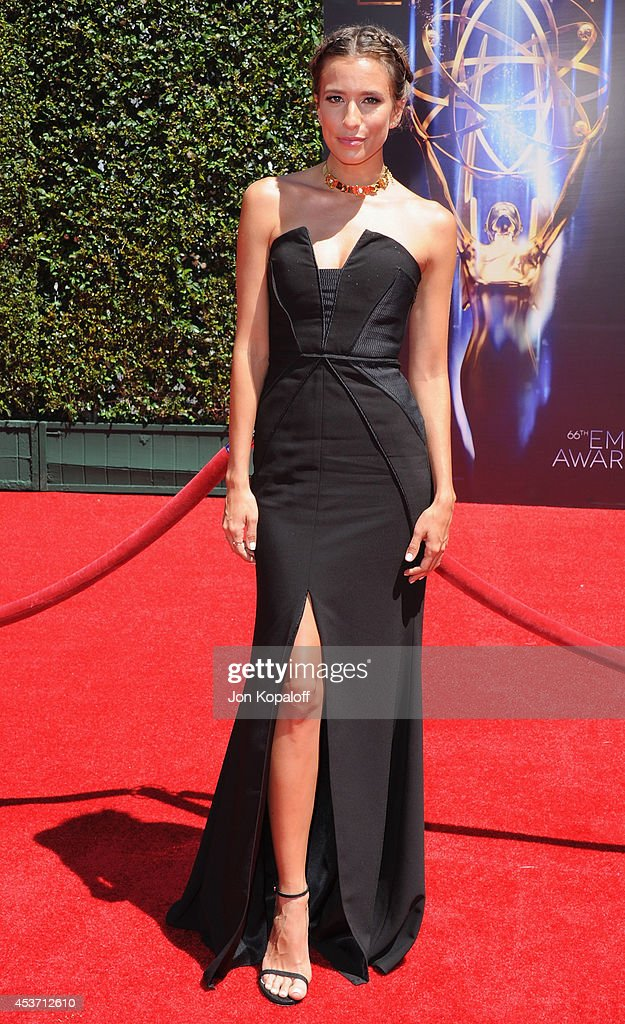 Renee Bargh arrives at the 2014 Creative Arts Emmy Awards at Nokia Theatre L.A. Live on August 16, 2014 in Los Angeles, California.