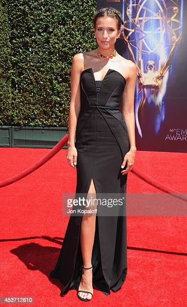 Renee Bargh arrives at the 2014 Creative Arts Emmy Awards at Nokia Theatre LA Live on August 16 2014 in Los Angeles California