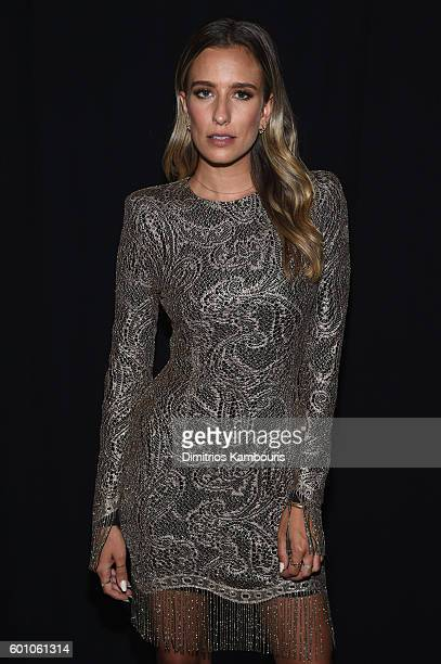Renee Bargh poses backstage at the Project Runway fashion show during New York Fashion Week The Shows at The Arc Skylight at Moynihan Station on...