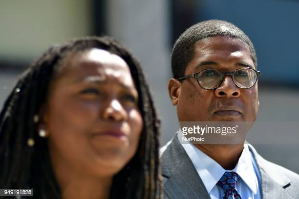 Renee Benson and Andrew Wyatt spokes person for Bill Cosby deliver a statement to the press during day ten of the actor and comedians sexual assault...
